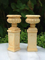Miniature Dollhouse FAIRY GARDEN Accessories ~ 2 Tan Resin Pedestals with Urns