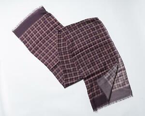 Isaia Napoli Purple Beige Plaid Pattern Fringe Virgin Wool Cashmere Scarf
