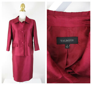 Talbots Womens Red Burgundy Silk Wool Skirt Suit Size 8 Formal Business Career