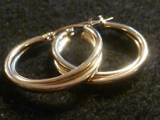 10K SOLID YELLOW GOLD DOUBLE BANDED HOOP EARRINGS