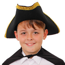 KIDS TRICORN HAT WITH GOLD BRAIDING FELT PIRATE CAPTAIN FANCY DRESS HISTORICAL