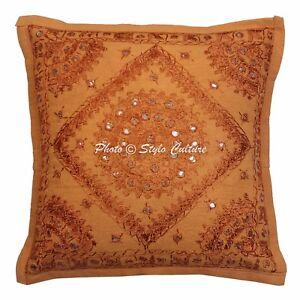 "Embroidered Cushion Cover Mirror Decor Cotton Pillow Case Throw Thanksgiving 16"""