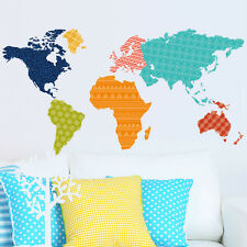 Colorful World Map Livingroom decor Wall sticker Large Wallpaper decal PVC mural