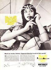 "1958 Cleopatra on Phone photo ""Imperial Service"" Northwest Orient Airlines Ad"