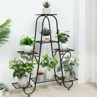 "40"" High Metal Plant Stand 7 Tier Plants Shelf Wrought Iron Pots Organizer Rack"