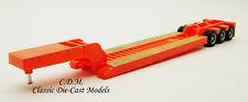 3 Axle Low Boy Orange Heavy Equipment Trailer 1/87 Ho Scale Promotex 5489-Or