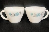 Oven Fire-King Ware Cups White with Blue Flower Design VTG 1950s USA - Set of 2