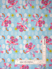 Sesame Street Character Abby Cadabby Girl Clouds Blue Cotton Fabric SPX - YARD