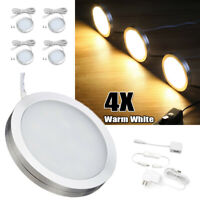 4PCS Under Cabinet Lighting Kit Closet Kitchen Counter LED Puck Light Warm White
