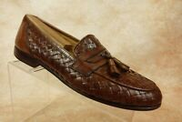 Bostonian Florentine Brown Leather Woven Slip On Tassel Loafers Mens Size 10.5M