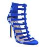 Liliana NIKIA-164 Blue Faux Suede Strappy Open Toe Clear Cage Stiletto Heel