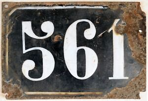 Large old black French house number 561 door gate plate plaque enamel metal sign