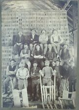 ANTIQUE BRICK MAKERS ARTISTIC EARLY AMERICAN LABOR STACKED MEN LARGE FINE PHOTO