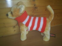 NEW  SMALL  8  INCH  HAND  KNITTED DOG COAT JUMPER RED / WHITE  CHIHUAHUA/TERRI