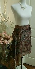 MISS SHOP! viscose wrap mini skirt sz 6-8 sequins paisley w ties browns blues!