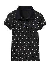 GAP Kids Girls Polo Shirt Sz M 8 Short Sleeve Navy Blue Floral Trim Pique New