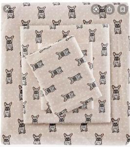 True North French Bulldog Pink Gray dog Flannel Sheet Set 4P KING New