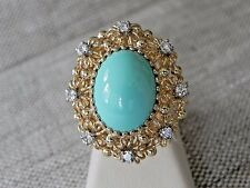Natural Persian Turquoise Cabochon Diamond Retro Cocktail 14K Yellow Gold Ring