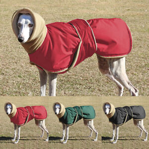 Windproof Dog Jacket Clothes Waterproof Whippet coat Hoodie Fleece Neck Warmer