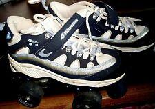 SKECHERS SPORT 4-Wheelers Roller Skates SZ 4 Girls/Women's BLUE & SPARKLE SILVER