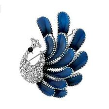 Vintage Style Blue Enamel Peacock Brooch Diamante