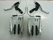 Kit Coppia Freno Bici Ant. e Post. + Leve 2 Dita V - Brake Alluminio Lucido