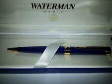 Waterman Etalon Blue Lacquer & Gold Trim Ballpoint Pen In Box *