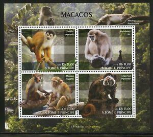 Sao Tomé 2019 Scimmie Foglio come Nuovo Nh