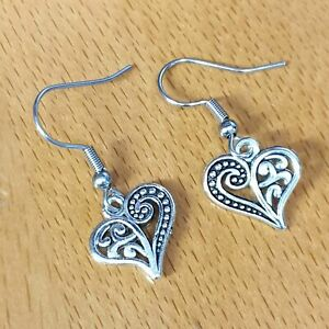 Hypoallergenic Surgical Steel Earrings with Tibetan Silver Heart Charms