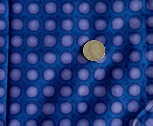 """Cotton Polyester Multipurpose Fabric PURPLE CIRCLES on BLUE 35""""Wide x 4 Yards"""