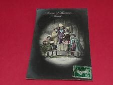 CPA CARTE POSTALE 1914 ENFANTS 5 FILLETTES SUR UNE LUGE PAYSAGE D'HIVER