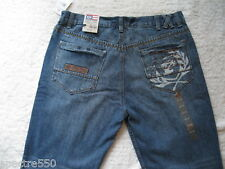 PHAT FARM Men's Straight Leg Jeans with Graphics on Back Pocket NEW size 36 x 31