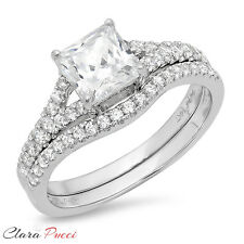 1.90ct Princess Cut Solitaire Halo Engagement Ring band set 14k White Gold