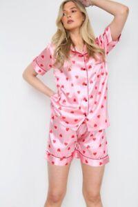 Womens Heart Print SATIN Short Sleeve Top Pyjamas Set Button Up Ladies Shorts PJ