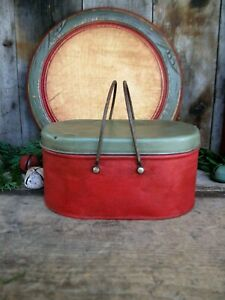 Early Antique Tin Lunch Pail with Bail Handles Red and Green Milk Paint