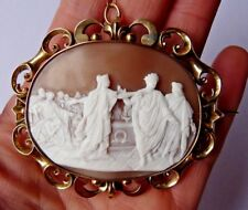 Unusual Victorian carved shell cameo- Large- 14 carat gold mount- Museum quality
