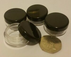 Small Clear Travel Sample Pots Jars Pieces Containers 5g 5ml with Black Lids jdb