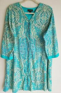 Miss Elaine Green Paisley Housedress Snap Robe Plus Size Duster Nightgown 1X