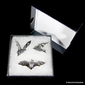 Gothic Bat Handmade Pewter Pin Brooch Set - 3 x Badge Gift Box Halloween Vampire