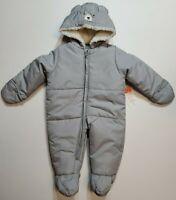 Just One You Carter's Infant Baby Boy Gray Bear Bunting Pram Snowsuit NB 6M 9M