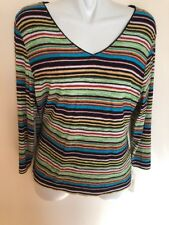 Softwear By Mark Singer Long Sleeves Striped Pullover Top V-Neck, Petite XL