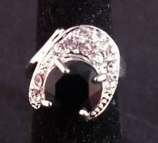 Large Black Statement Silver Ring Size 5 ~Ships FREE to US R37