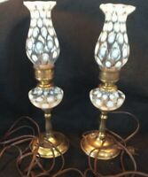 """RARE Pair Vintage Fenton Opalescent Coin Dot Lamps W/ SHADES 13 1/2"""" BOTH WORK"""
