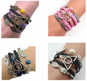 HARRY POTTER Deathly Hallows Style Bracelets Golden Snitch Owl Jewellery Gift UK