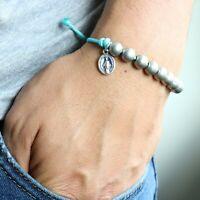 Rosary Miraculous Medal Bracelet Handmade Aqua Blue Paracord Beads Catholic
