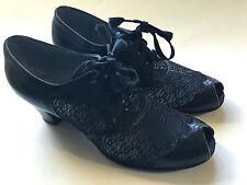 VTG Dr Locke Womens Black Leather Shoes Swing Dance Peep Toe Lace Size 5.5