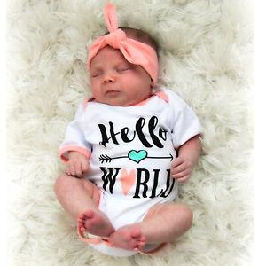 """Hello World"" Baby Girl Romper & Headband Set"