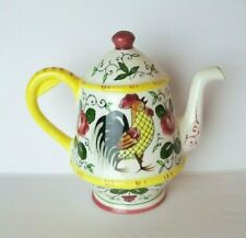 Vintage Early Provincial Py Ucagco Wall Pocket Teapot Japan Rooster & Roses
