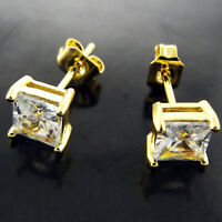 Stud Earrings Real 18k Yellow G/F Gold Solid Ladies Diamond Simulated Design