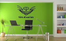 "Cheshire Cat and Saying Wall Sticker Wall Art Vinyl Decals ""We're all mad here"""